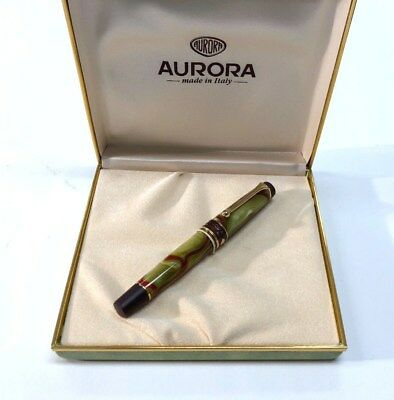 Aurora Asia Rollerball Pen Limited Edition (535) Green Marbled Resin Sealed -New