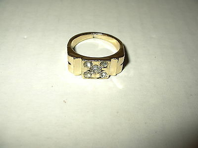 Vintage Men's Heavy Goldplate & 5 Clear Crystal Ring - Size 11 1/2 - 11.2 Grams
