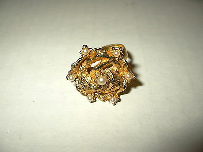 Vintage Chunky Goldtone & Pearl Abstract Modernist Adjustable Ring - 12 Grams