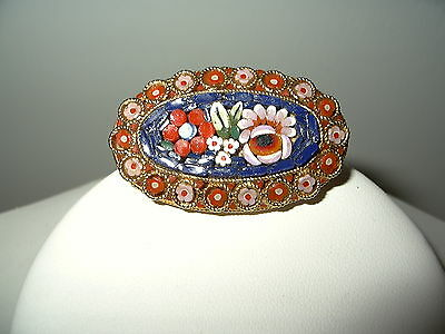 Pretty Colorful Vintage Goldtone Micro Mosaic Flower Oval Brooch Pin