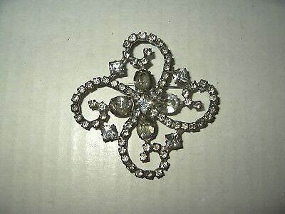 Large Vintage Art Deco Signed STERLING & Clear Rhinestone Abstract Brooch Pin