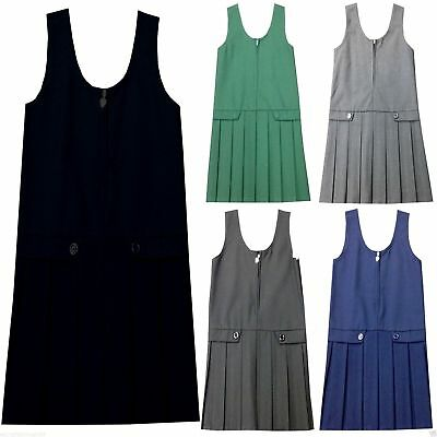 Pleated Pinafore Dress School Uniform Girls Kids Black Grey Navy Green All Sizes