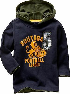 NEW GAP Baby Boy Navy Top Tee Long Sleeve Shirt with Green Hood, Size 18-24m