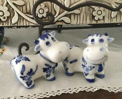 Cute Blue And White Cow Salt And Pepper Shakers