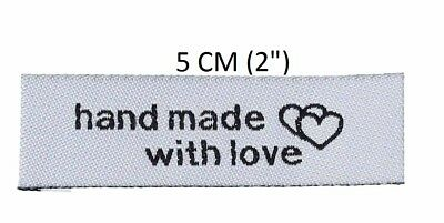 50 Pcs Heart Pattern handmade with love Woven labels