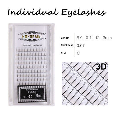 Pre-fanned 3D Russian Volume Individual Eye Lashes Extensions 0.07mm Ultra Soft