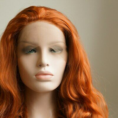 "AU STOCK 24"" Copper Red Lace Front Wig Heat Resistant Synthetic Hair Body Wavy"