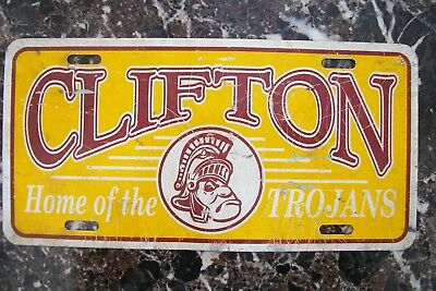 1980s CLIFTON TROJANS LICENSE PLATE BOOSTER CLIFTON ARIZONA GREENLEE CO