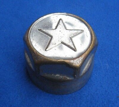 1920s Star Durant Car Hubcap Threaded Grease Cover, 5 pointed Star, Plated Brass