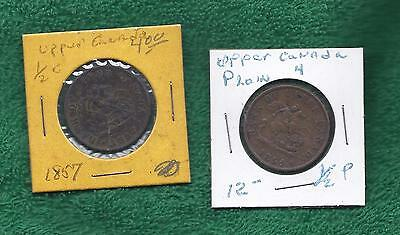 Bank of upper Canada tokens 1854 & 1857  1/ 2 penny