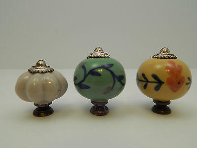 Vintage LOT x3 Handpainted Drawer Pulls - Brass / Ceramic - Antique Collectible