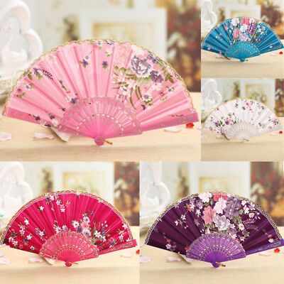 Chinese Flower Silk Lace Folding Hand Fan  Ladies Vintage Wedding Dancing Party