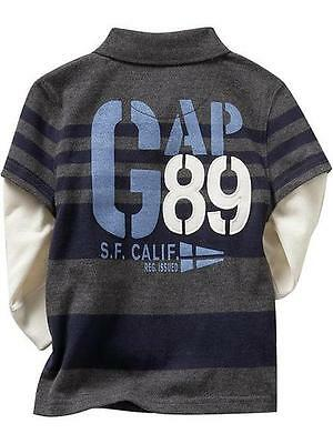 NEW GAP Baby Boy Long Sleeve Grey Striped Polo Top Tee Shirt, Size 18-24m