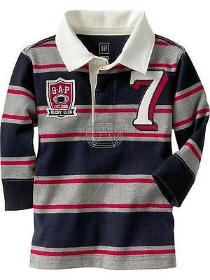 NEW GAP Baby Boy Long Sleeve Striped Polo Top Tee Shirt, Size 18-24m