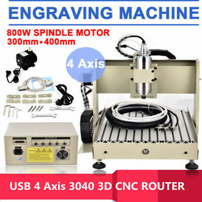4Axis 3040T CNC Router Engraver USB Engraving Drilling Milling Machine 3D Cutter