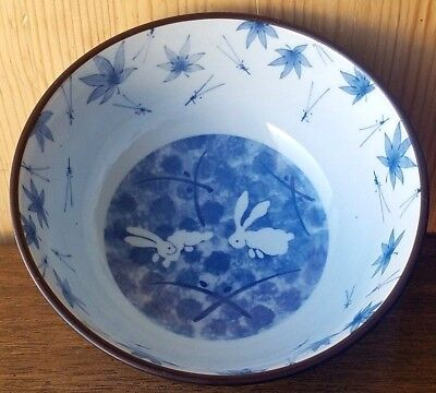 Japanese Rice /noodle Bowl Blue White Rabbits Insects Leaves Pattern. Signed