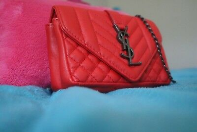 7ed2d0f0caa Authentic Ysl Saint Laurent Monogram Chevron Wallet Chain Bag Red Shoulder  Bag