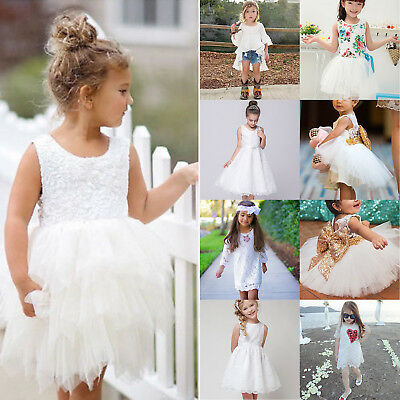 Kids Girl White Tutu Tulle Mini Dress Wedding Formal Party Princess Casual Skirt