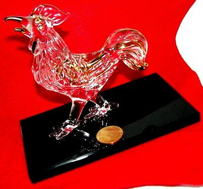 J.G.DURANT CRAFT IN FRANCE - VTG  ROOSTER  GLASS HAND  ART/ 24k PAINT  GOLD