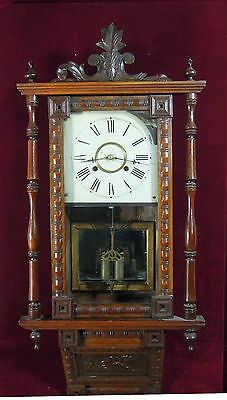 Antique Waterbury Clock Wall Floral Folige  Carvings RARE Wood CASE