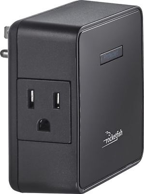 Rocketfish- 2-Outlet Wall Tap Surge Protector - Black