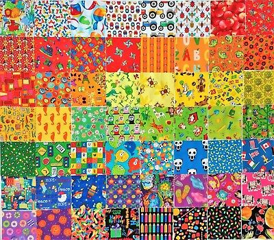 "48 Kids Novelty Cotton Quilt Patchwork Fabric 5""  Squares I SPY MULTI-COLOURED"
