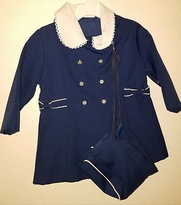 Vintage Child Or Dolly Coat, Size 2T, Navy Blue with White 🐝
