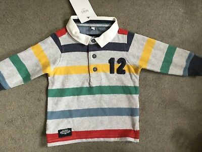 M&s Striped Rugby Top With Multi Coloured Stripes On Grey & A White Collar -Bnwt