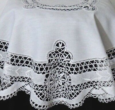 "Victorian French Cluny Bobbin Lace Linen Tablecloth 40"" Show Piece Table Topper"