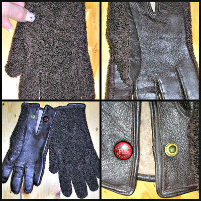 60s qualitydark brown leather & boucle/flannel wool logo MENS gloves by Champion