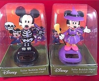 Disney's Mickey Mouse Minnie Mouse Halloween Costume Solar Powered Bobbleheads