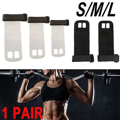 Crossfit Hand Grips Palm Protectors Leather Gloves Pull up Lift GYM Fitness SML