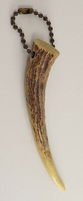 """Antique Authentic Deer Antler Keychain, 4 1/2"""" Long Keys Collectible Animal Gift"""