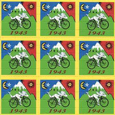 ALBERT HOFMANN BIKE RIDE 1943 - blotter art - psychedelic goa acid artwork