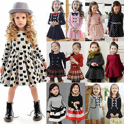 Girls Kids Clothes Long Sleeve Princess Bowknot Mini Dress School Uniform 2-9Y