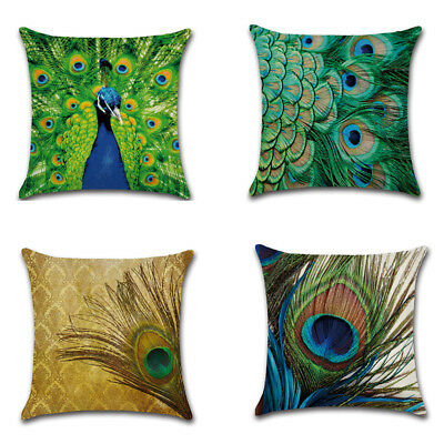 Decorative Linen Cushion Cover Peacock Pillow Throw Pillowcase Home Decor NE8