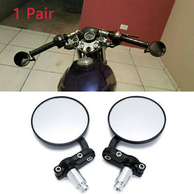 "Motorcycle Round 7/8"" Handle Bar End Mirror Handlebar Rear View Mirrors Black KK"