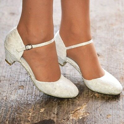 Low Heel Wedding Shoes Ladies MidHeel Floral Lace Ankle Strap Full Toe Mary Jane