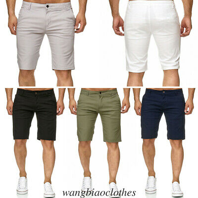 Mens Plain Shorts Sports Casual Chino Pants Trousers Cargo Summer Jeans Pocket