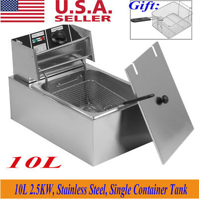 NEW 2500W 10L Electric Countertop Deep Fryer Tank Basket Commercial Restaurant Y