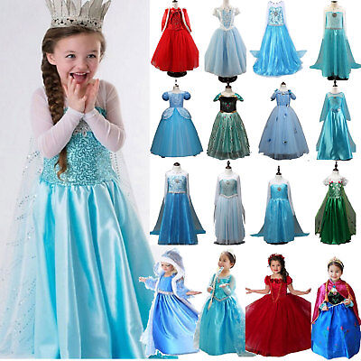 Girls Frozen Elsa Dress Fancy Costume Girls Party Cosplay Clothes Outfit Set Lot