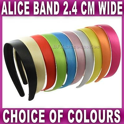 Satin ALICE BAND 2.4cm WIDE headband fabric head hair band aliceband 10 colours