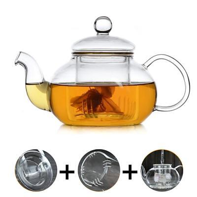 Heat Resistant Glass Teapot with Infuser Coffee Tea Leaf Herbal 400ML-1000ML
