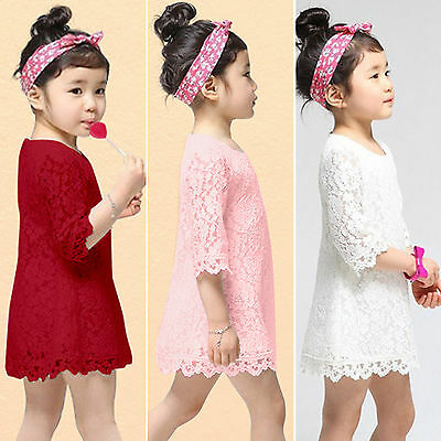 Girls Lace Crew Neck Mini Dress Summer Wedding Bridesmaid Party Princess Shirts