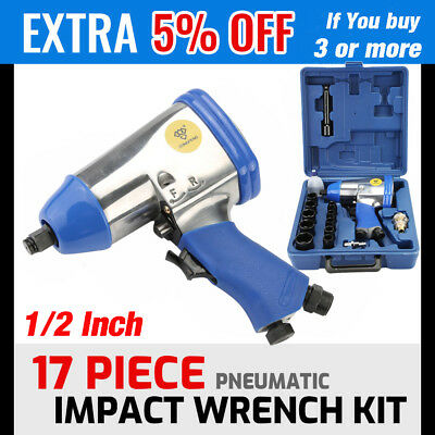 """17Pc 1/2"""" Drive Air Impact Wrench With 10 1/2 Dr Sockets 1Extension Bar Oiler Oy"""