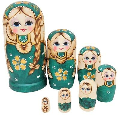 7X Nesting Dolls Wooden Lovely Girl Matryoshka Hand Painted Russian Toy Kid Gift