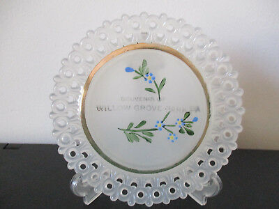 Circa 1920 Souvenir Tiffin Clambroth Glass Dish Willow Grove Park Pennsylvania
