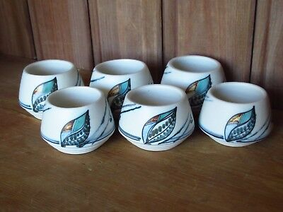 Set Of 6 Unusual Vintage Art Pottery Ceramic Abstract Hand Painted Egg Cups