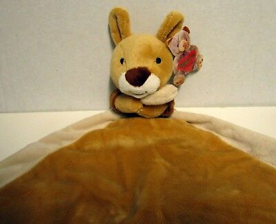 Baby's Cute Plush Kangaroo Doudou Security Blanket Comforter Soft & Cuddly Bnwt