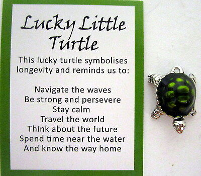 """Lucky Turtle Charm With Card..""""this Turtle Symbolises Longevity & Reminds...."""""""